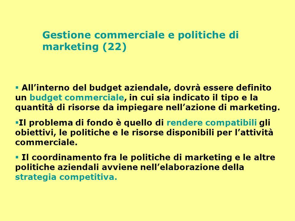 Gestione commerciale e politiche di marketing (22) Allinterno del budget aziendale, dovrà essere definito un budget commerciale, in cui sia indicato i
