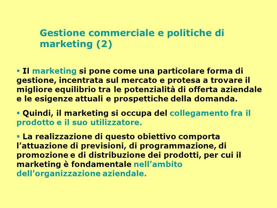 Gestione commerciale e politiche di marketing (3) Nellambito della funzione commerciale si possono individuare due gruppi di compiti: 1.