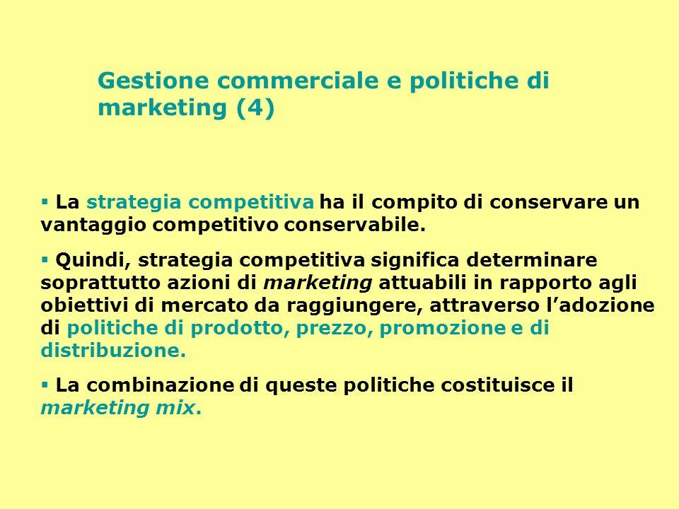 Gestione commerciale e politiche di marketing (4) La strategia competitiva ha il compito di conservare un vantaggio competitivo conservabile. Quindi,