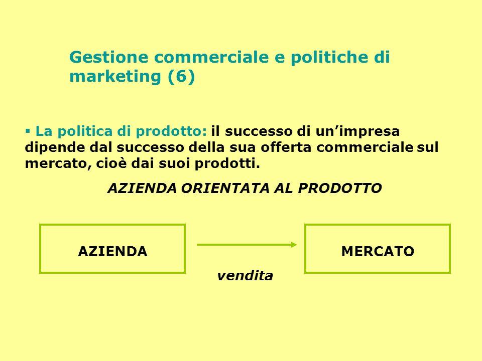 Gestione commerciale e politiche di marketing (7) Se l azienda è concentrata sul prodotto per essa vale la regola delle 4 P o concezione tradizionale del marketing: Prodotto Prezzo Punto vendita (distribuzione) Promozione