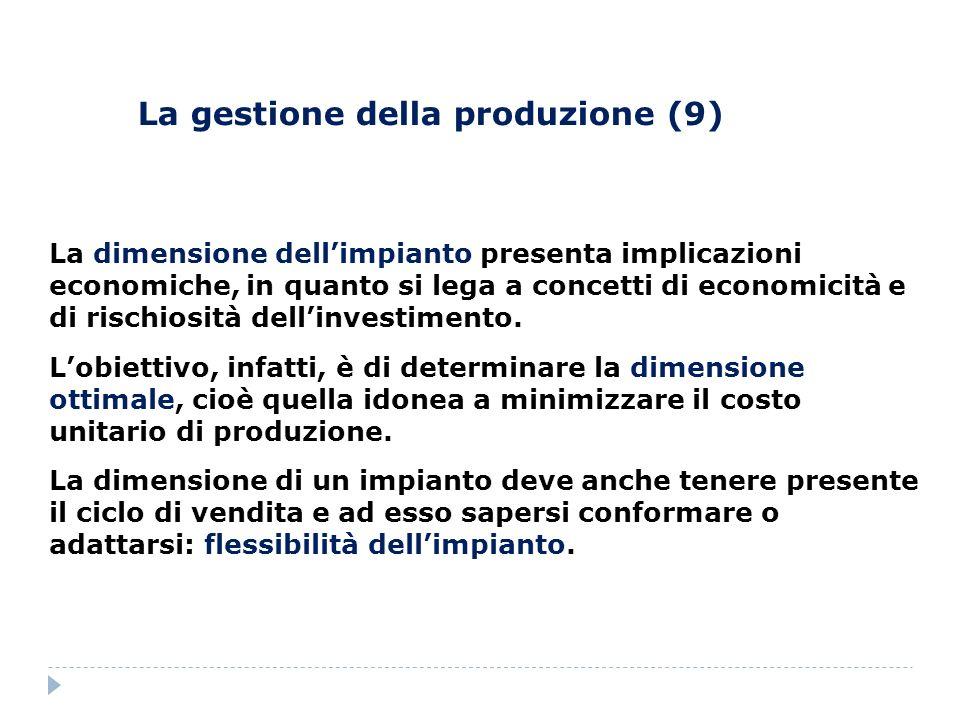 La gestione della produzione (9) La dimensione dellimpianto presenta implicazioni economiche, in quanto si lega a concetti di economicità e di rischio