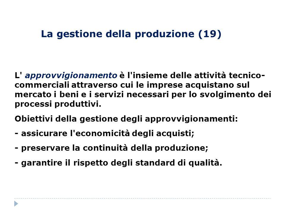 La gestione della produzione (19) L' approvvigionamento è l'insieme delle attività tecnico- commerciali attraverso cui le imprese acquistano sul merca