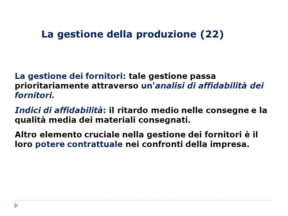 La gestione della produzione (22) La gestione dei fornitori: tale gestione passa prioritariamente attraverso un'analisi di affidabilità dei fornitori.