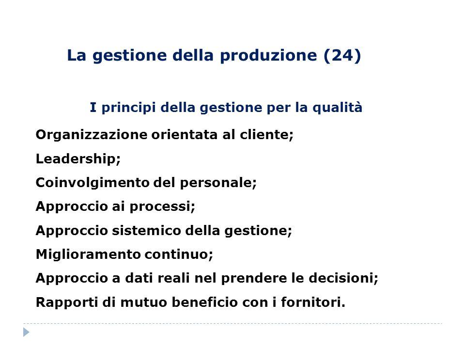 I principi della gestione per la qualità Organizzazione orientata al cliente; Leadership; Coinvolgimento del personale; Approccio ai processi; Approcc