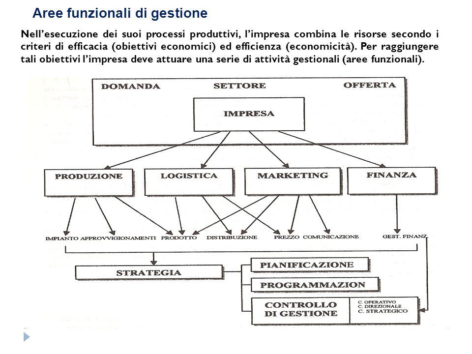 Aree funzionali di gestione Nellesecuzione dei suoi processi produttivi, limpresa combina le risorse secondo i criteri di efficacia (obiettivi economi