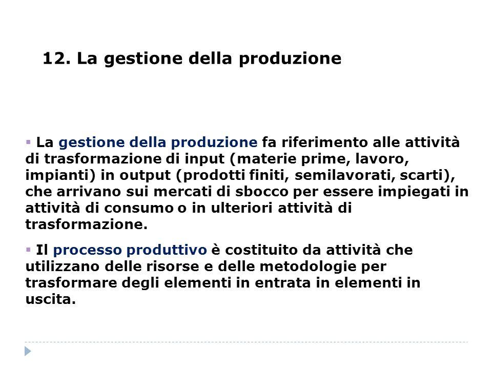 12. La gestione della produzione La gestione della produzione fa riferimento alle attività di trasformazione di input (materie prime, lavoro, impianti
