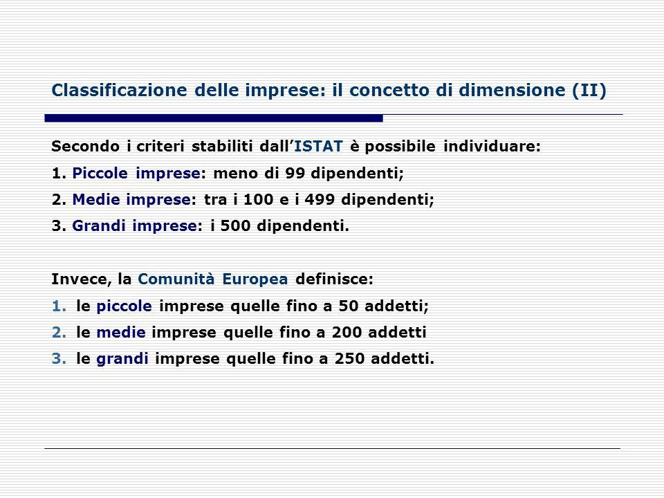 Classificazione delle imprese: il concetto di dimensione (I) Per definire la dimensione di unimpresa vengono utilizzati parametri che possono essere r