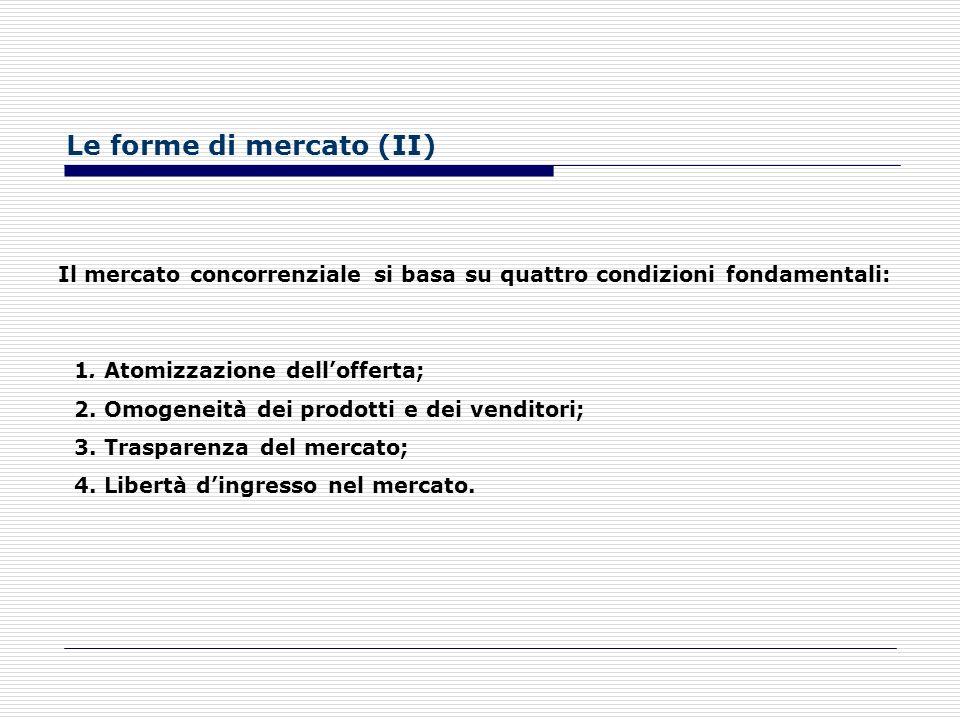 Le forme di mercato (I) DEFINIZIONE DI MERCATO Per mercato si intende il complesso degli atti di scambio che si manifestano o che potrebbero manifesta