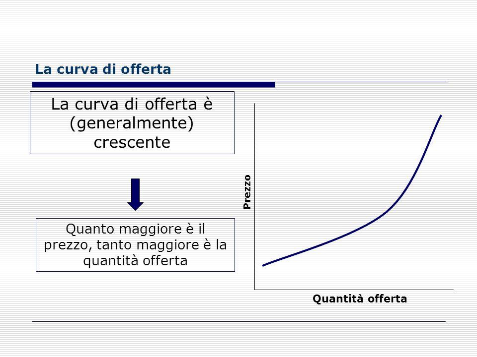 Lofferta Per OFFERTA si intende la quantità di un certo bene o servizio che viene messa in vendita in un dato momento a un dato prezzo.bene serviziove
