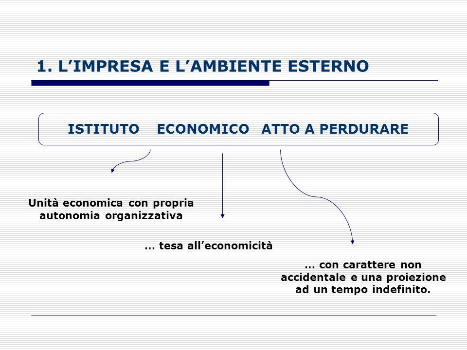 1. LIMPRESA E LAMBIENTE ESTERNO Impresa Organizzazione economica che, mediante limpiego di un complesso di risorse, acquisisce e produce beni o serviz