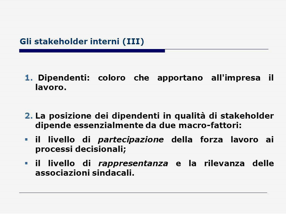 Gli stakeholder interni (II) Le imprese possono avere una struttura proprietaria concentrata oppure frammentata. La suddivisione più importante nell'a