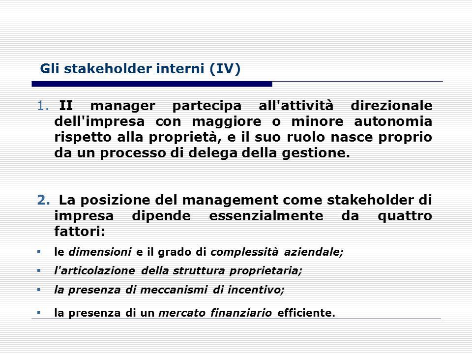Gli stakeholder interni (III) 1. Dipendenti: coloro che apportano all'impresa il lavoro. 2.La posizione dei dipendenti in qualità di stakeholder dipen