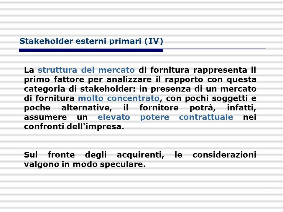 Stakeholder esterni primari (III) Con riferimento ai rapporti con i fornitori e i clienti, l'analisi seguirà una direttrice