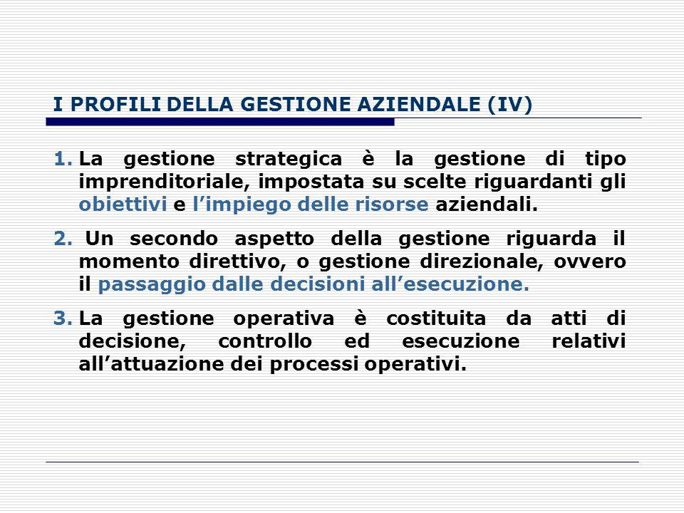 I PROFILI DELLA GESTIONE AZIENDALE (III) Tra le decisioni gestionali esiste una sorta di gerarchia, al vertice della gerarchia o sistema di scelte, ci