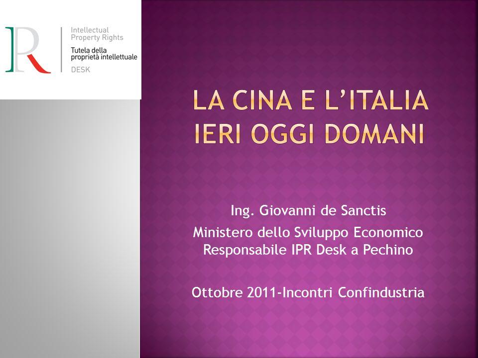 Ing. Giovanni de Sanctis Ministero dello Sviluppo Economico Responsabile IPR Desk a Pechino Ottobre 2011-Incontri Confindustria
