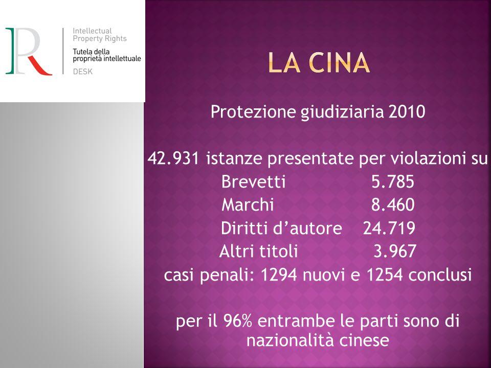 Protezione giudiziaria 2010 42.931 istanze presentate per violazioni su Brevetti 5.785 Marchi 8.460 Diritti dautore 24.719 Altri titoli 3.967 casi pen