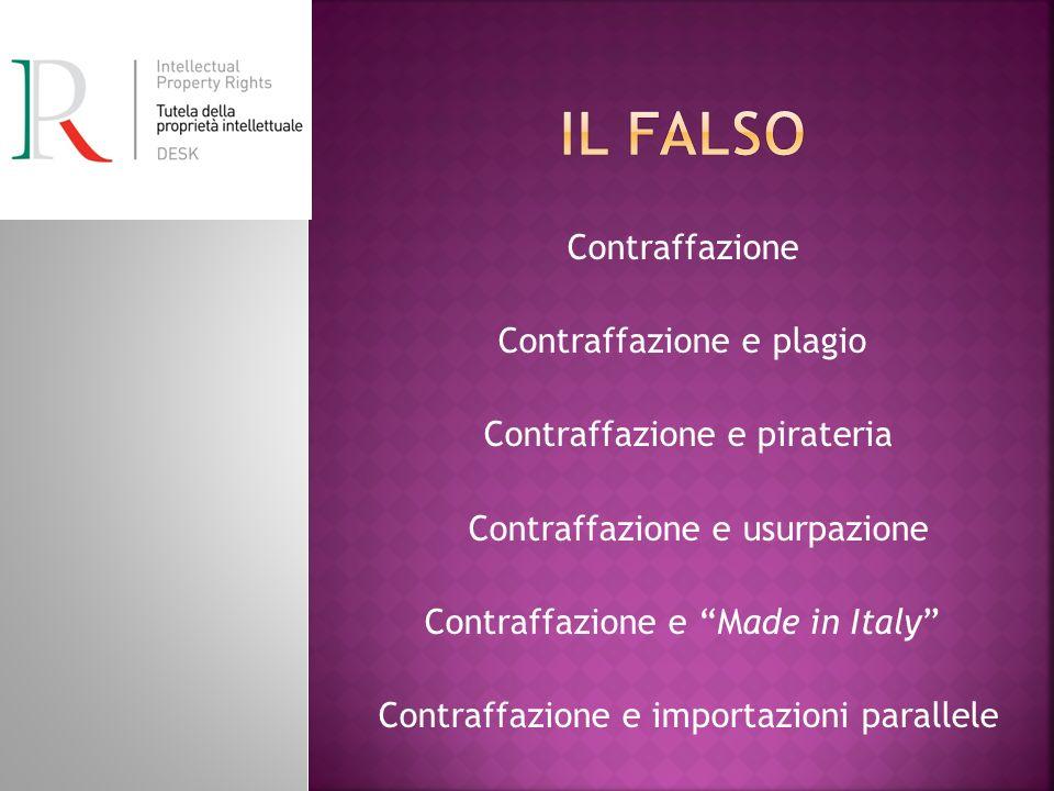 Contraffazione Contraffazione e plagio Contraffazione e pirateria Contraffazione e usurpazione Contraffazione e Made in Italy Contraffazione e importazioni parallele