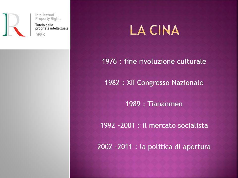 1976 : fine rivoluzione culturale 1982 : XII Congresso Nazionale 1989 : Tiananmen 1992 -2001 : il mercato socialista 2002 -2011 : la politica di apertura