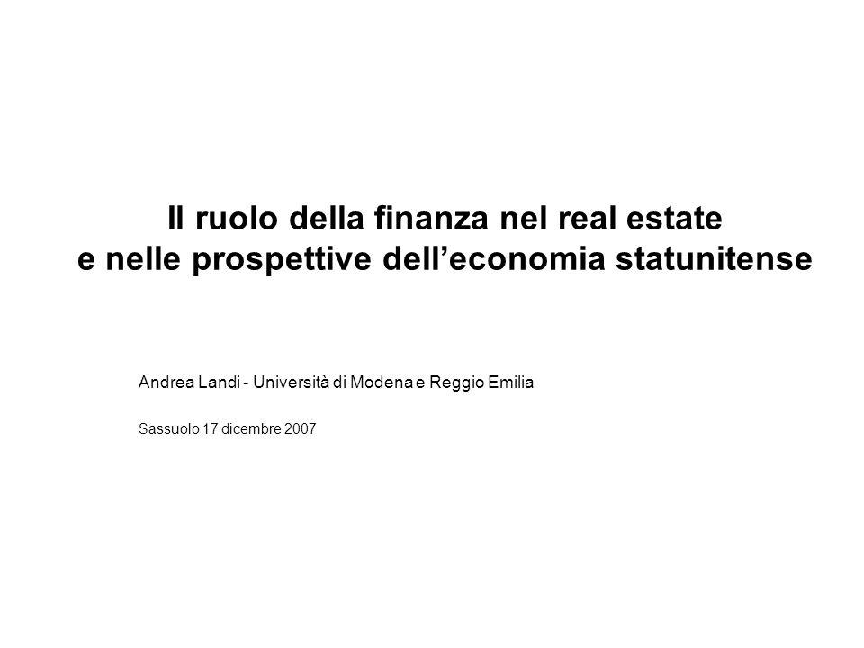 Il ruolo della finanza nel real estate e nelle prospettive delleconomia statunitense Andrea Landi - Università di Modena e Reggio Emilia Sassuolo 17 d