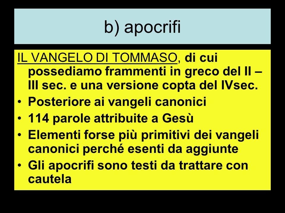b) apocrifi IL VANGELO DI TOMMASO, di cui possediamo frammenti in greco del II – III sec.