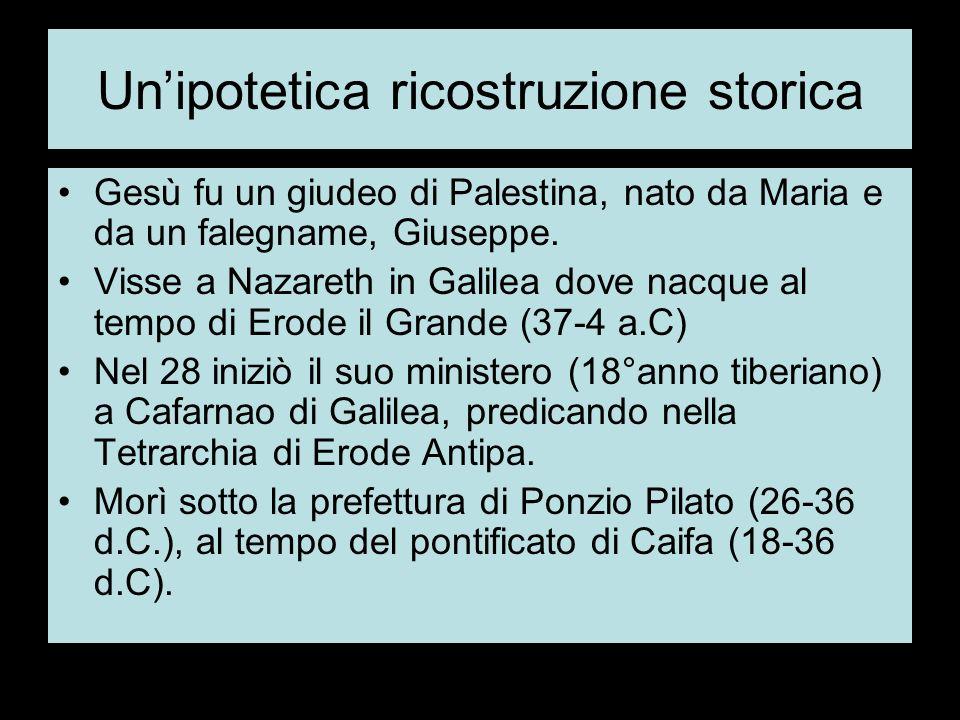 Unipotetica ricostruzione storica Gesù fu un giudeo di Palestina, nato da Maria e da un falegname, Giuseppe.