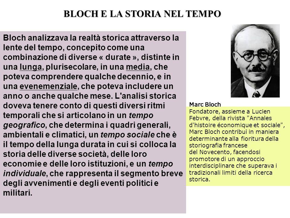 Bloch analizzava la realtà storica attraverso la lente del tempo, concepito come una combinazione di diverse « durate », distinte in una lunga, pluris