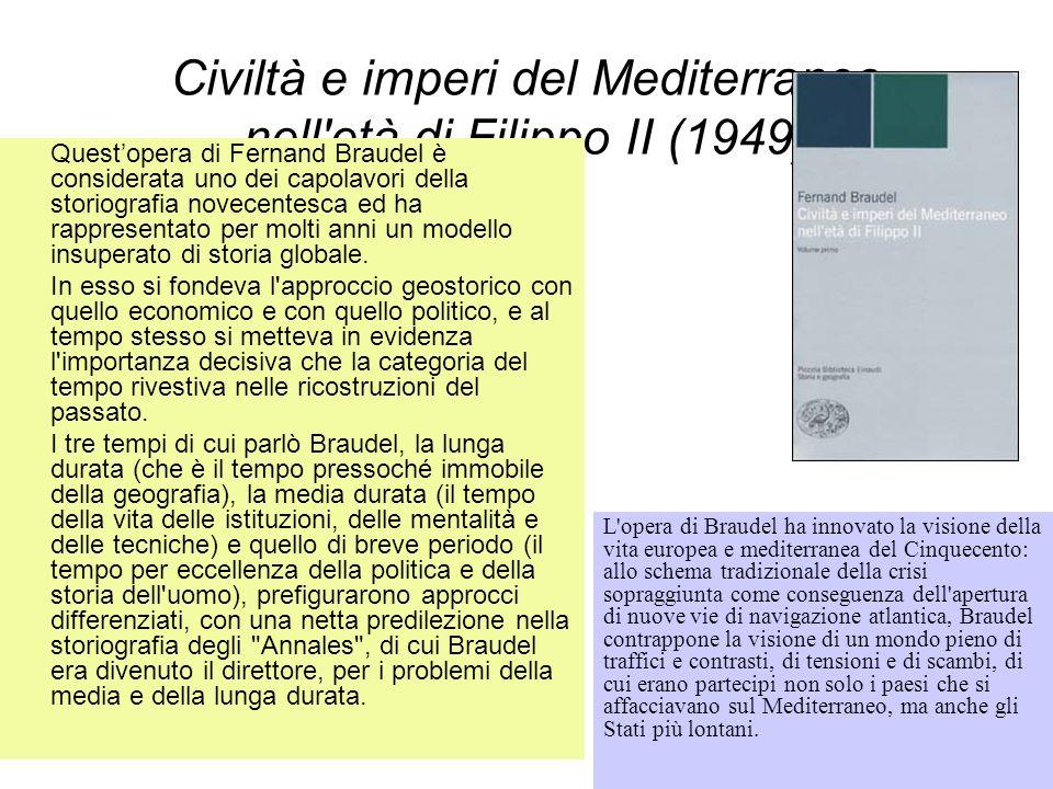 Civiltà e imperi del Mediterraneo nell'età di Filippo II (1949) Questopera di Fernand Braudel è considerata uno dei capolavori della storiografia nove