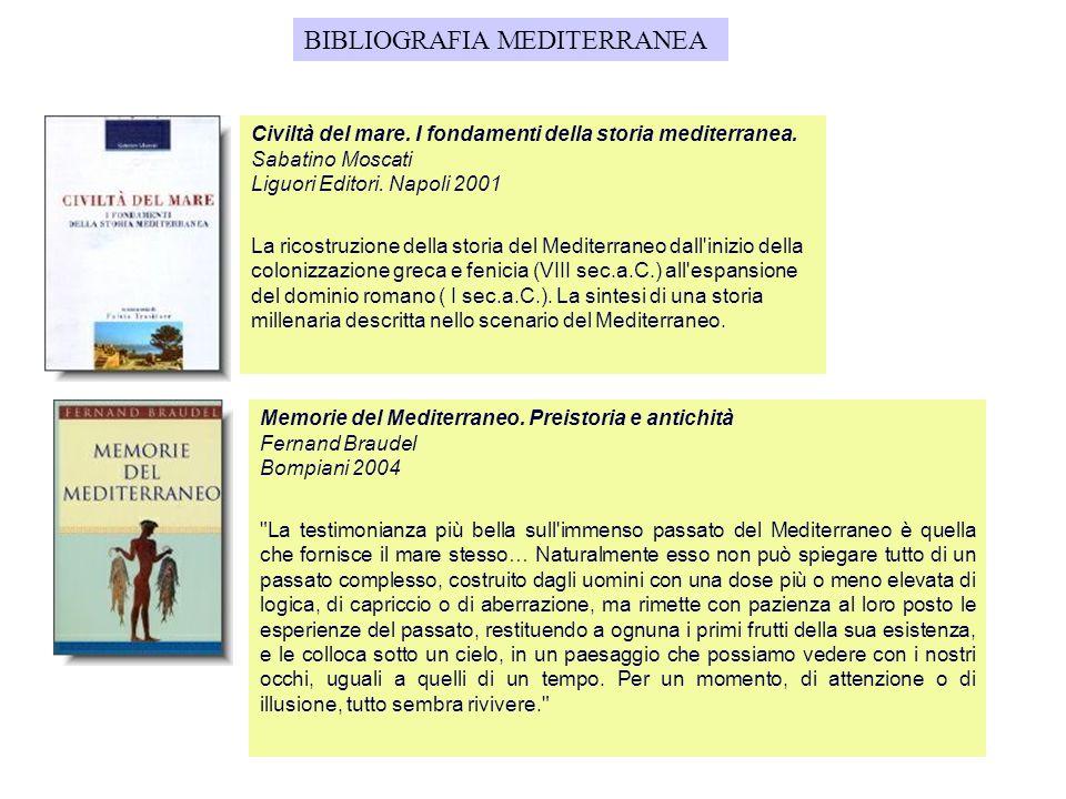 BIBLIOGRAFIA MEDITERRANEA Civiltà del mare. I fondamenti della storia mediterranea. Sabatino Moscati Liguori Editori. Napoli 2001 La ricostruzione del