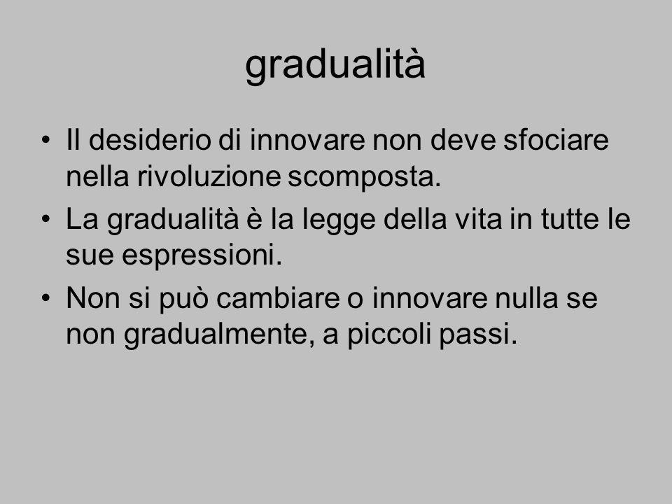 gradualità Il desiderio di innovare non deve sfociare nella rivoluzione scomposta. La gradualità è la legge della vita in tutte le sue espressioni. No