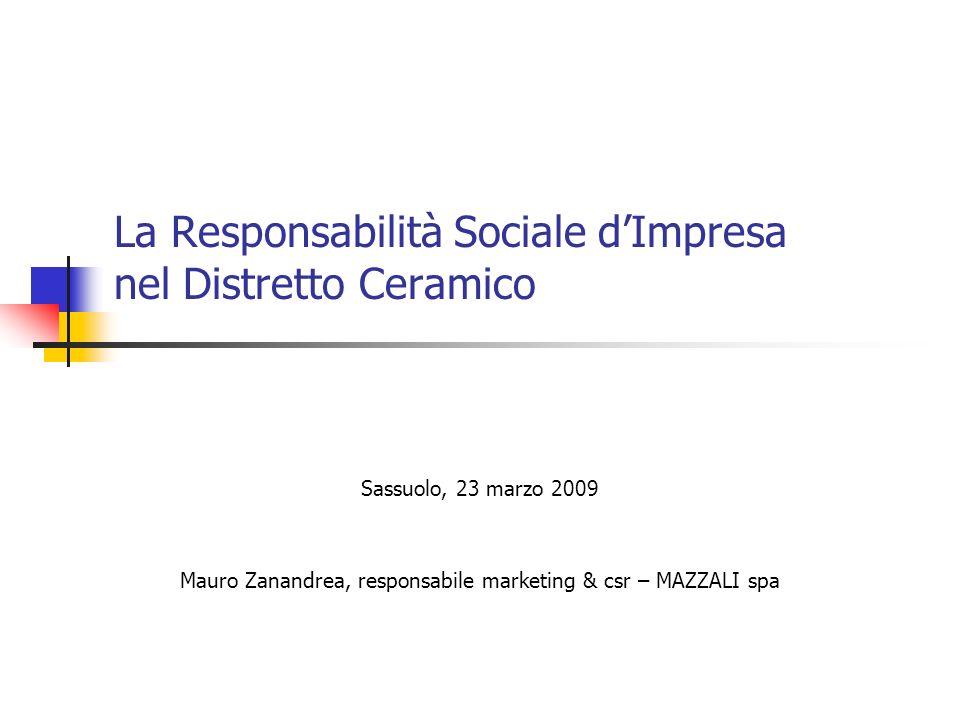 La Responsabilità Sociale dImpresa nel Distretto Ceramico Sassuolo, 23 marzo 2009 Mauro Zanandrea, responsabile marketing & csr – MAZZALI spa