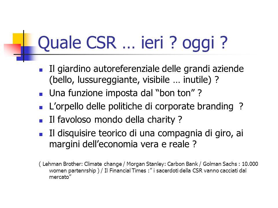 Quale CSR … ieri .oggi .