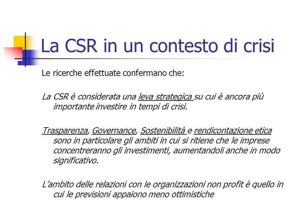 La CSR in un contesto di crisi Le ricerche effettuate confermano che: La CSR è considerata una leva strategica su cui è ancora più importante investire in tempi di crisi.
