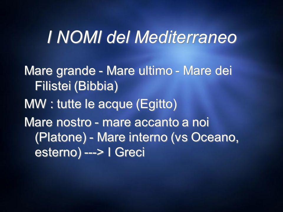 I NOMI del Mediterraneo Mare grande - Mare ultimo - Mare dei Filistei (Bibbia) MW : tutte le acque (Egitto) Mare nostro - mare accanto a noi (Platone)