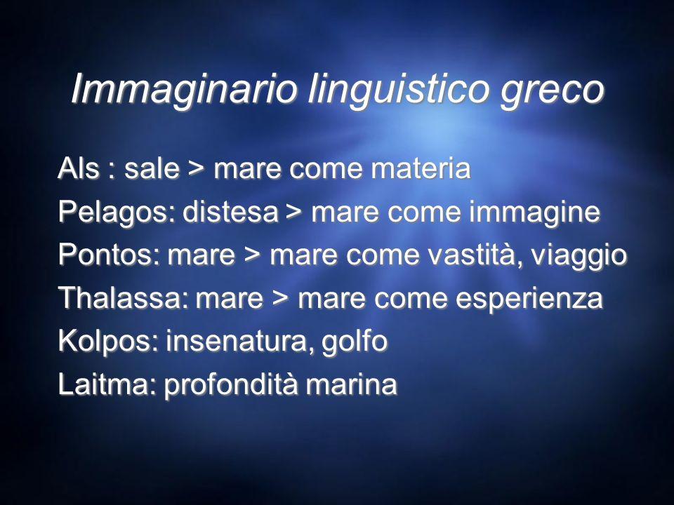 Immaginario linguistico greco Als : sale > mare come materia Pelagos: distesa > mare come immagine Pontos: mare > mare come vastità, viaggio Thalassa: