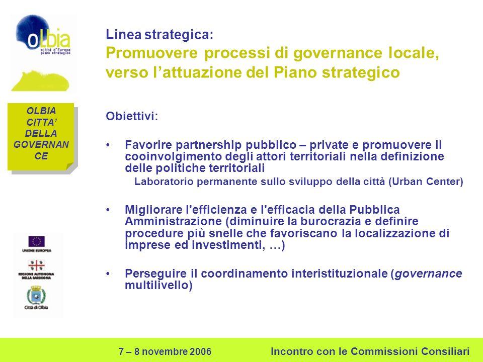 7 – 8 novembre 2006 Incontro con le Commissioni Consiliari Linea strategica: Promuovere processi di governance locale, verso lattuazione del Piano str