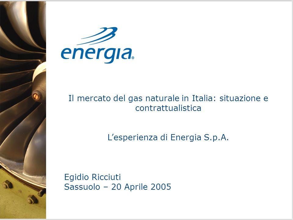 Il mercato del gas naturale in Italia: situazione e contrattualistica Lesperienza di Energia S.p.A.