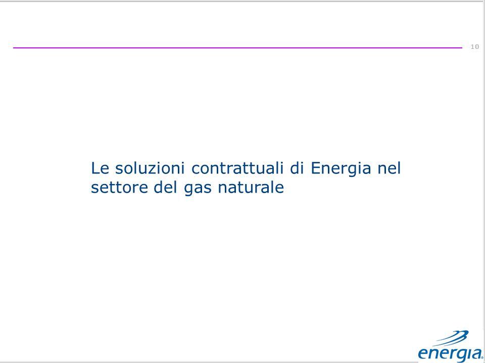 10 Le soluzioni contrattuali di Energia nel settore del gas naturale
