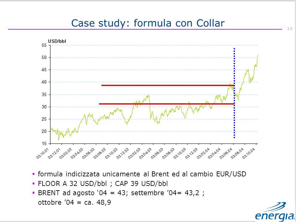 13 formula indicizzata unicamente al Brent ed al cambio EUR/USD FLOOR A 32 USD/bbl ; CAP 39 USD/bbl BRENT ad agosto 04 = 43; settembre 04= 43,2 ; ottobre 04 = ca.