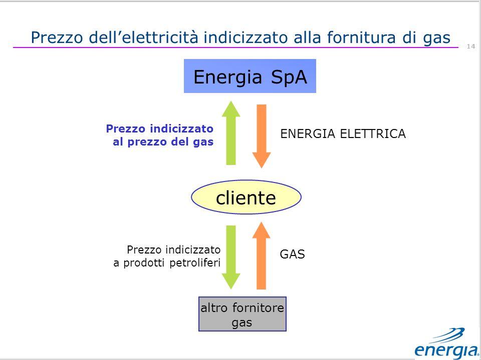 14 Energia SpA cliente altro fornitore gas GAS Prezzo indicizzato a prodotti petroliferi ENERGIA ELETTRICA Prezzo indicizzato al prezzo del gas Prezzo dellelettricità indicizzato alla fornitura di gas