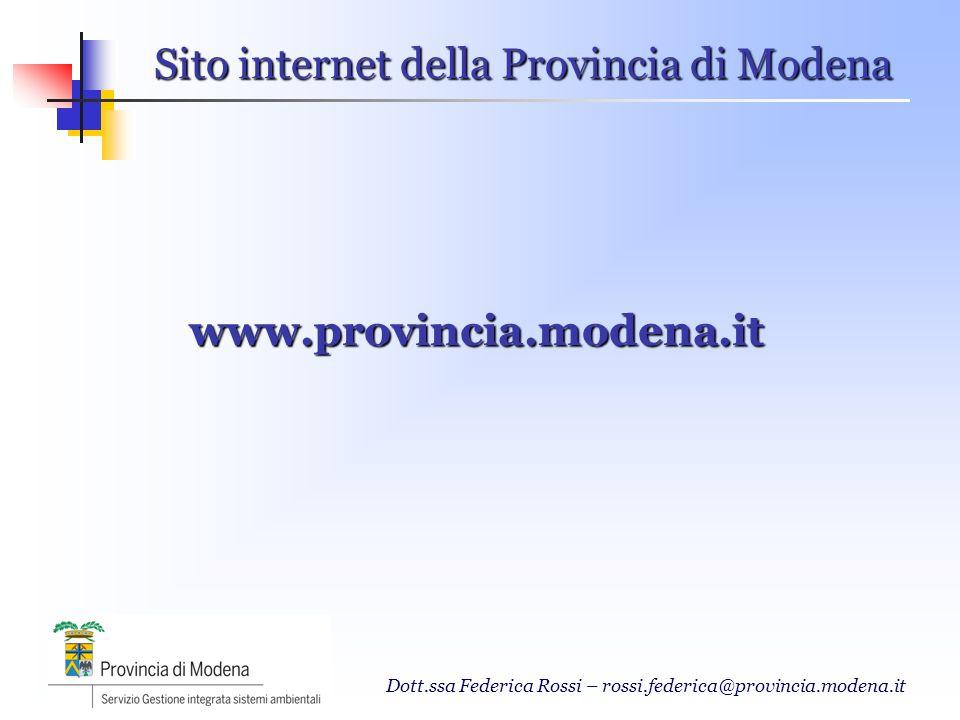 Dott.ssa Federica Rossi – rossi.federica@provincia.modena.it Sito internet della Provincia di Modena www.provincia.modena.it