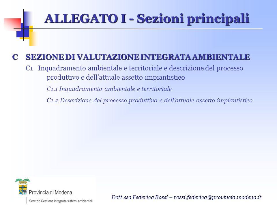 Dott.ssa Federica Rossi – rossi.federica@provincia.modena.it C SEZIONE DI VALUTAZIONE INTEGRATA AMBIENTALE C1 Inquadramento ambientale e territoriale