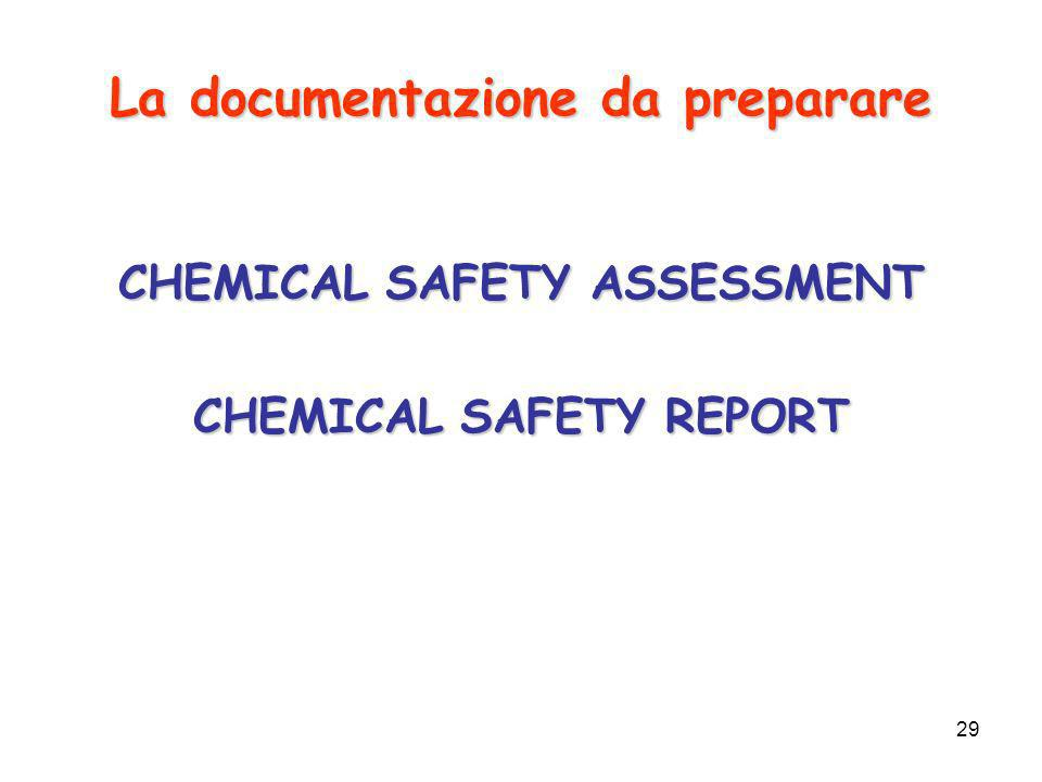 29 La documentazione da preparare CHEMICAL SAFETY ASSESSMENT CHEMICAL SAFETY REPORT