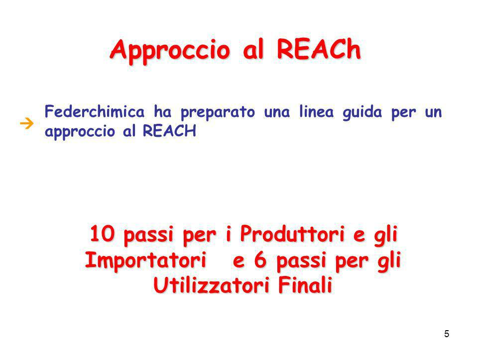 6 Obblighi per le Imprese Entrata in vigore del REACH prevista per il 2007: è pertanto consigliabile che le Imprese si preparino sin da ora.