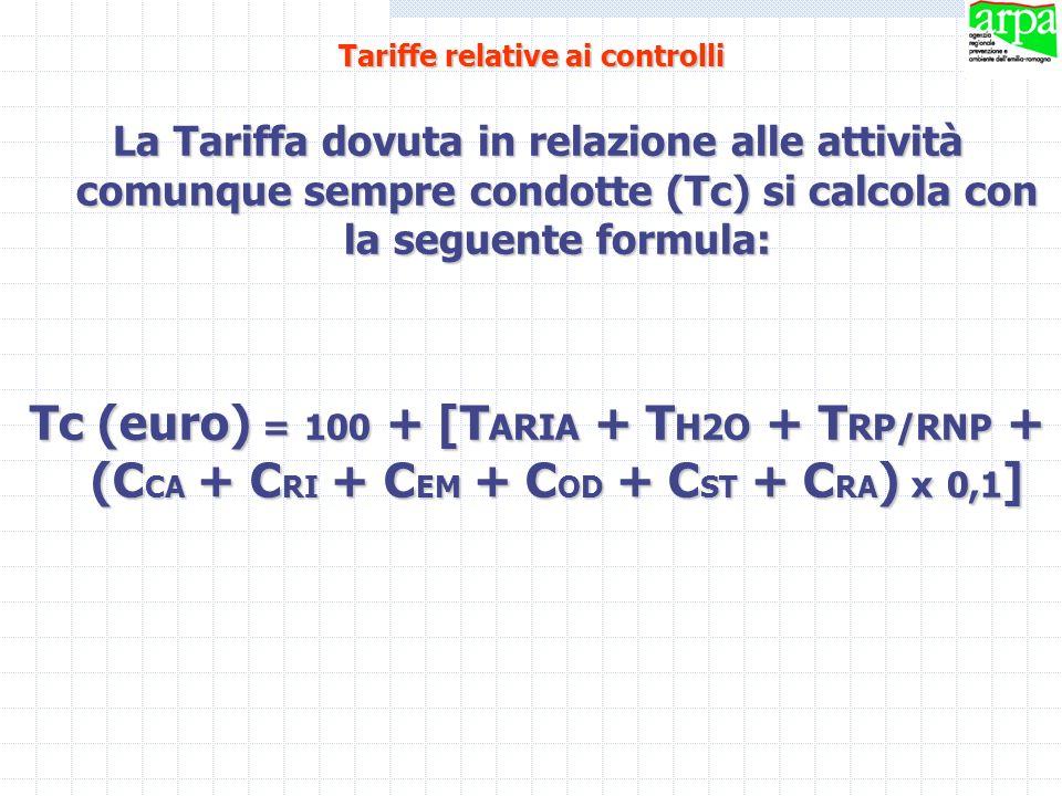 La Tariffa dovuta in relazione alle attività comunque sempre condotte (Tc) si calcola con la seguente formula: Tc (euro) = 100 + [T ARIA + T H2O + T R