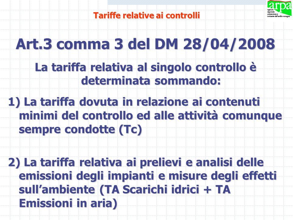Art.3 comma 3 del DM 28/04/2008 La tariffa relativa al singolo controllo è determinata sommando: 1) La tariffa dovuta in relazione ai contenuti minimi