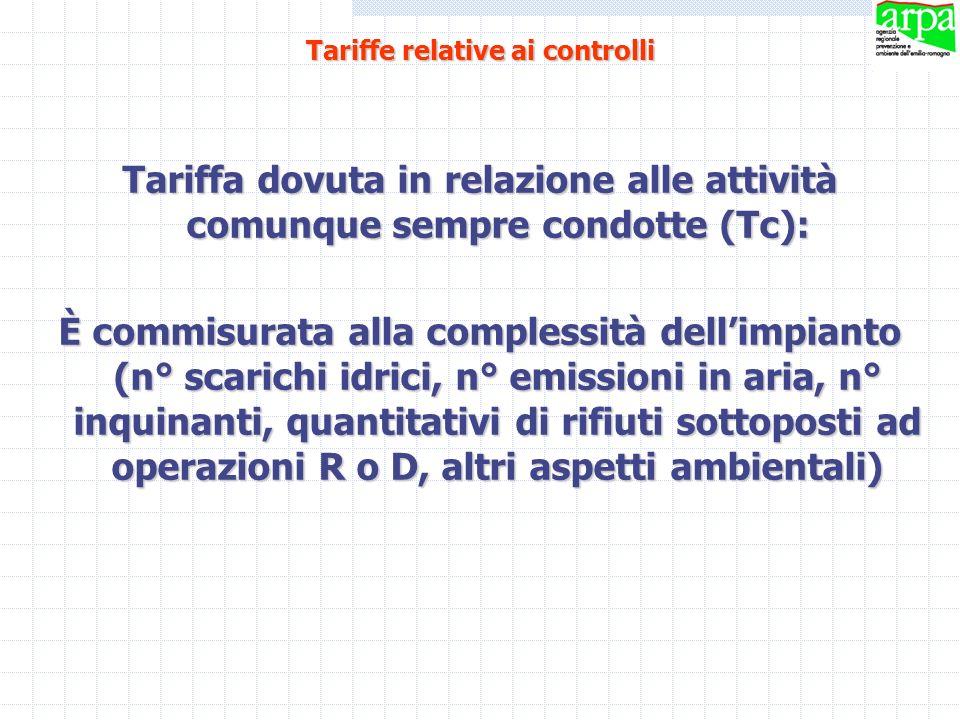 Tariffa dovuta in relazione alle attività comunque sempre condotte (Tc): È commisurata alla complessità dellimpianto (n° scarichi idrici, n° emissioni