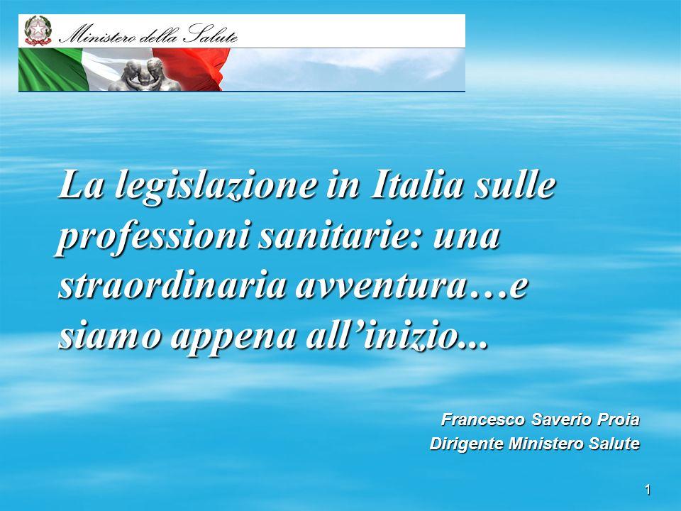 1 La legislazione in Italia sulle professioni sanitarie: una straordinaria avventura…e siamo appena allinizio... Francesco Saverio Proia Dirigente Min