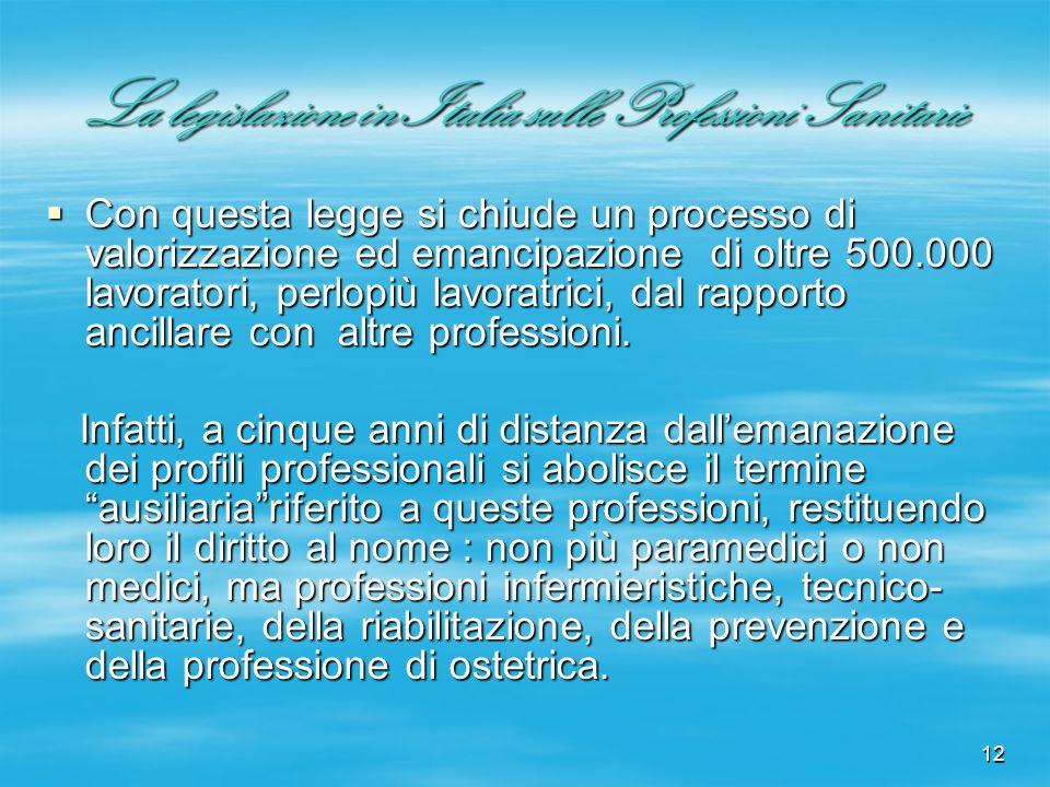 12 La legislazione in Italia sulle Professioni Sanitarie Con questa legge si chiude un processo di valorizzazione ed emancipazione di oltre 500.000 la