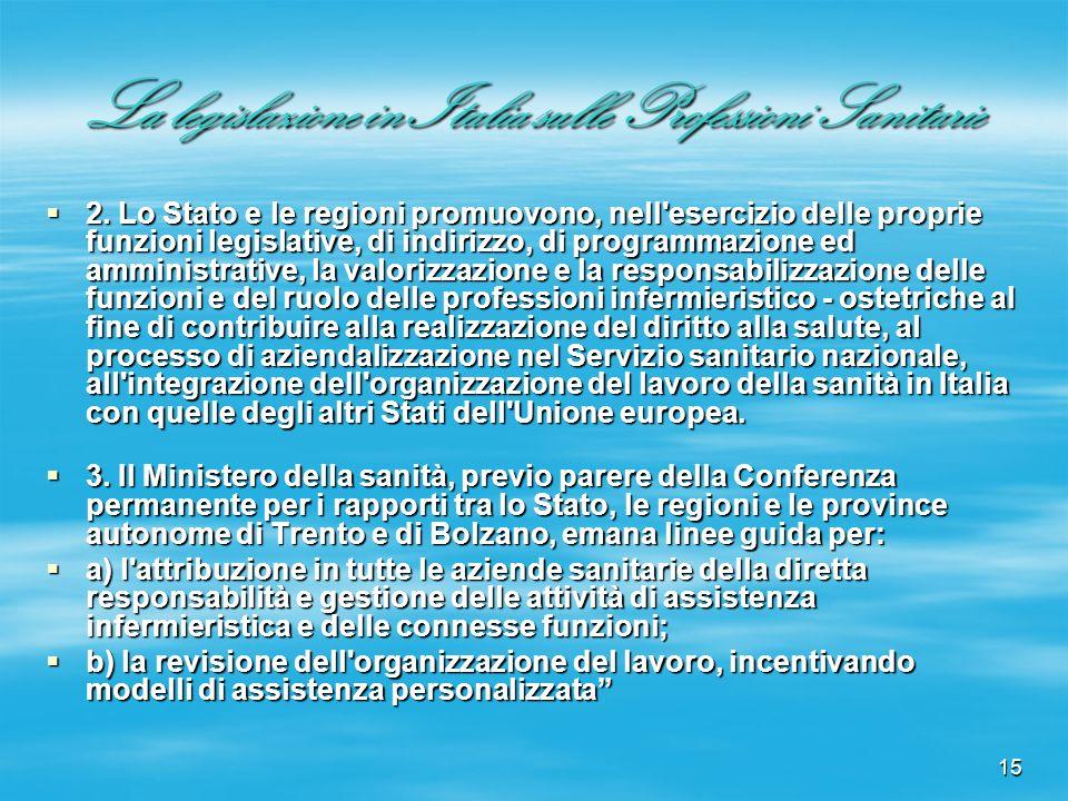 15 La legislazione in Italia sulle Professioni Sanitarie 2. Lo Stato e le regioni promuovono, nell'esercizio delle proprie funzioni legislative, di in
