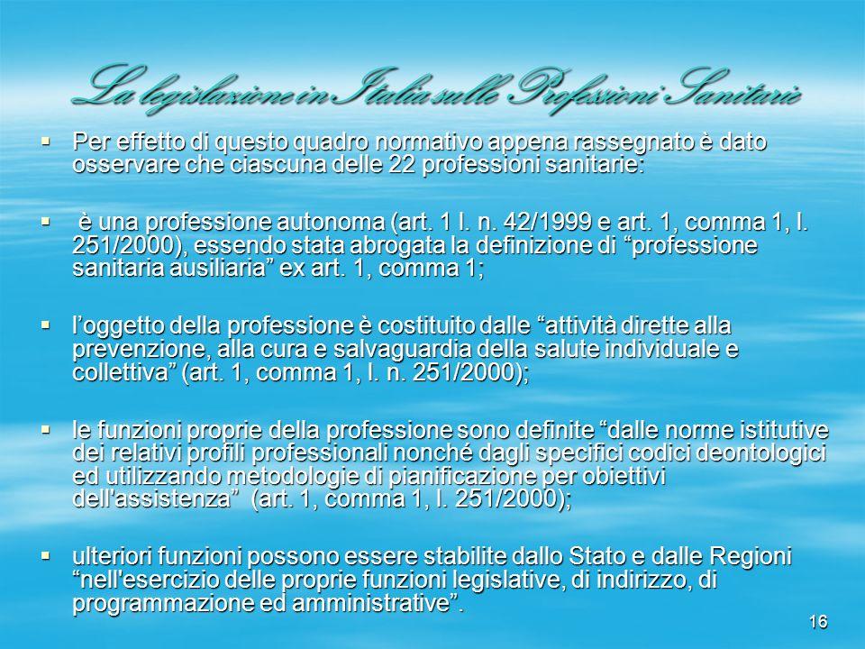 16 La legislazione in Italia sulle Professioni Sanitarie Per effetto di questo quadro normativo appena rassegnato è dato osservare che ciascuna delle